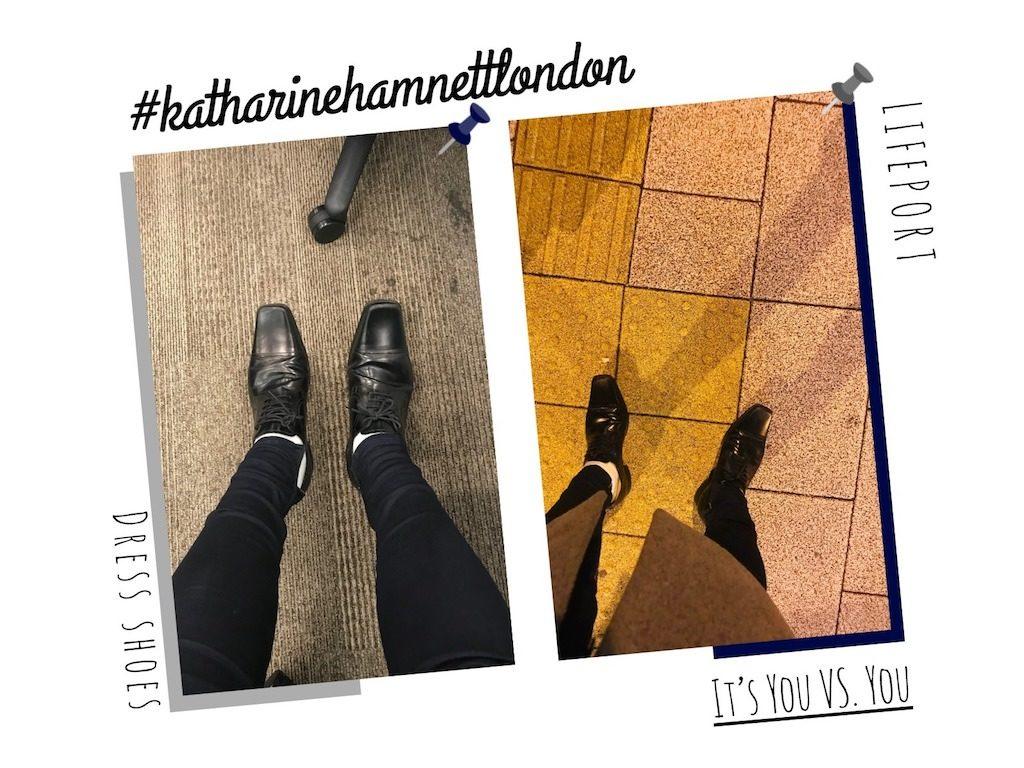 キャサリンハムネットロンドンの革靴を履いたイメージ