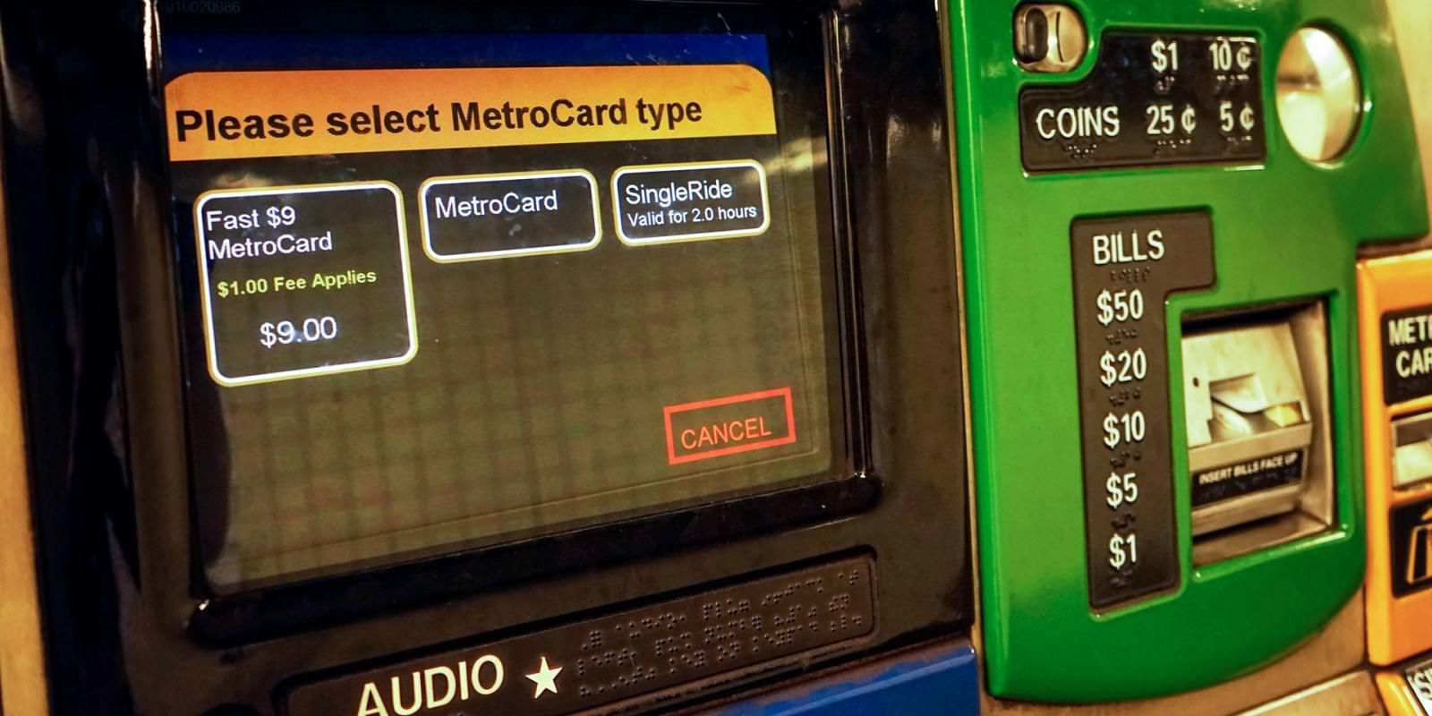 【チケット販売機】MetroCardの種類を選択