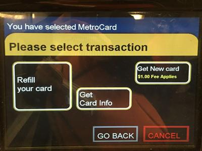 MetroCardにチャージしたい時は「Refill your card」を選択