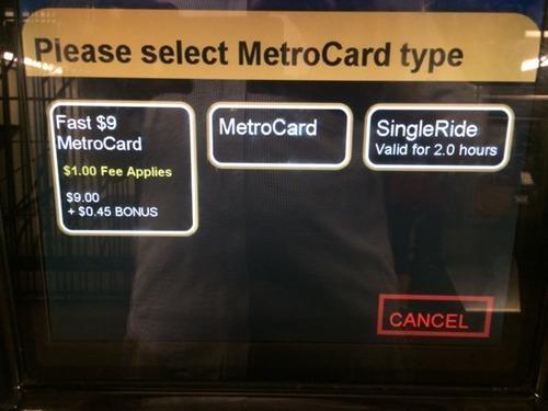 真ん中の「MetroCard」を選択