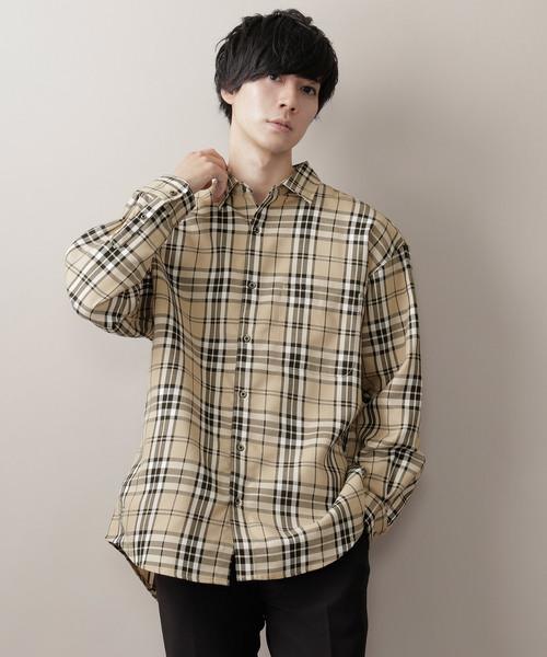 MONO-MART タータンチェックオーバーサイジングL:Sシャツ(1)