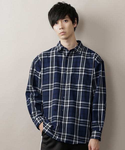 MONO-MART タータンチェックオーバーサイジングL:Sシャツ(2)
