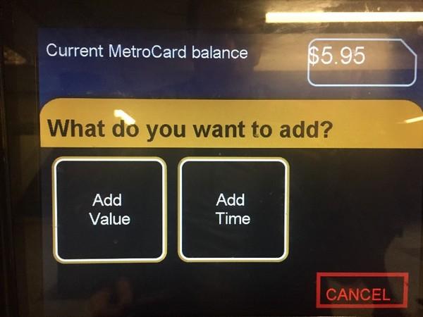 MetroCardに追加でお金をチャージしたいので「Add Value」を選択