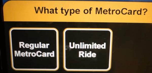 MetroCard乗り放題チケットは「Unlimited」を選択