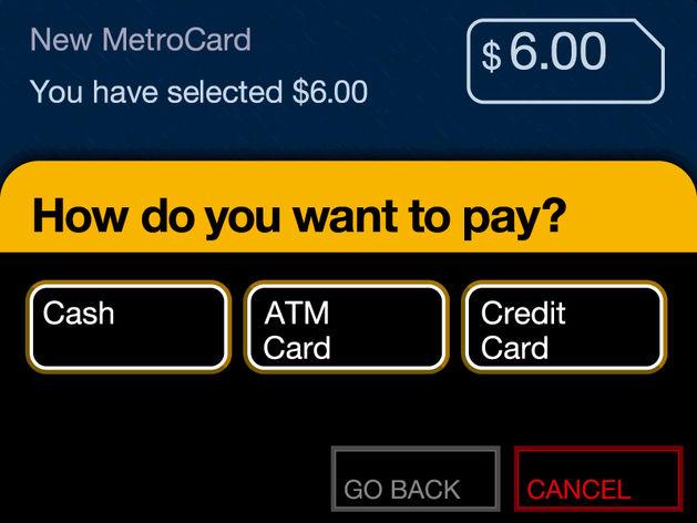 MetroCardの支払いは現金でもクレジットカードでも大丈夫