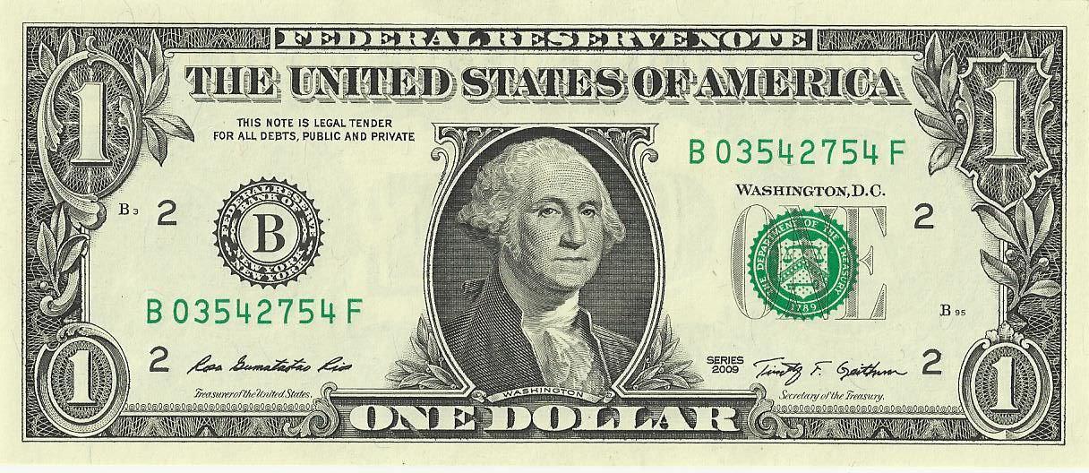 USドルの顔側の写真