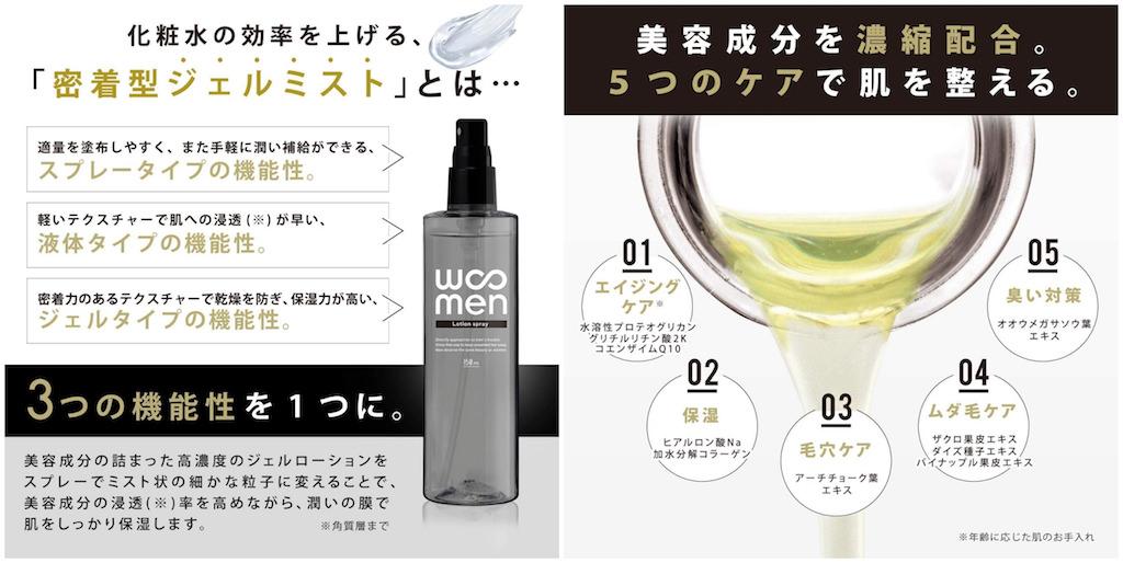 乾燥肌におすすめメンズオールインワン化粧水:WOOMEN オールインワンジェル ローションスプレー